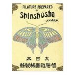 Butterfly Vintage Japanese Silk Label Postcard