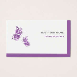 Butterfly Violet & White Elegant Modern Simple 2 Business Card