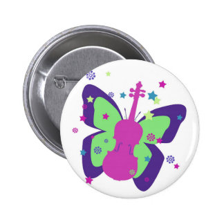 Butterfly Violin Pinback Button