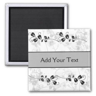 Butterfly Visions in Black and Grey Magnet