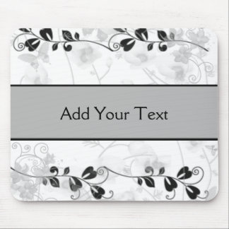 Butterfly Visions in Black and Grey Mouse Pad