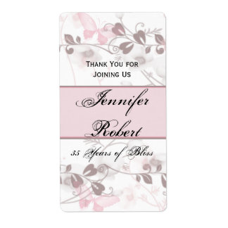 Butterfly Visions in Pink Anniversary Wine Label Shipping Label