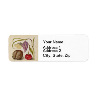 Butterfly Walnut Flower and cherry Watercolor Label