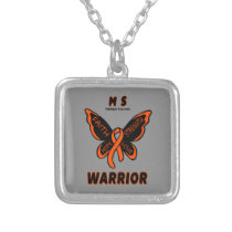 Butterfly/Warrior...MS Silver Plated Necklace