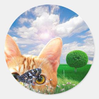 Butterfly Watcher Classic Round Sticker