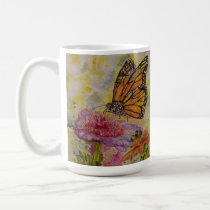 Butterfly Watercolor Art Jumbo Mug