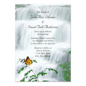 Butterfly & Waterfall Wedding Invitation