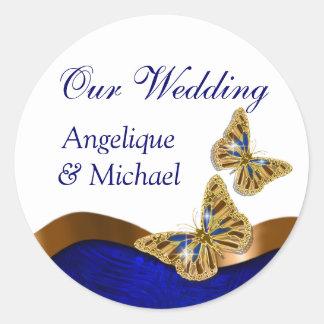 Butterfly wedding birthday engagement anniversary round sticker