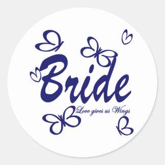 Butterfly Wedding/ Bride Classic Round Sticker