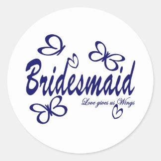 Butterfly Wedding/ Bridesmaid Classic Round Sticker