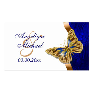 Butterfly wedding brown blue gold Double-Sided standard business cards (Pack of 100)
