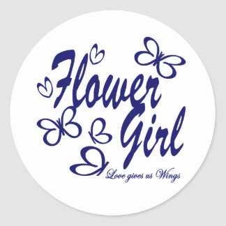 Butterfly Wedding/ Flower Girl Classic Round Sticker