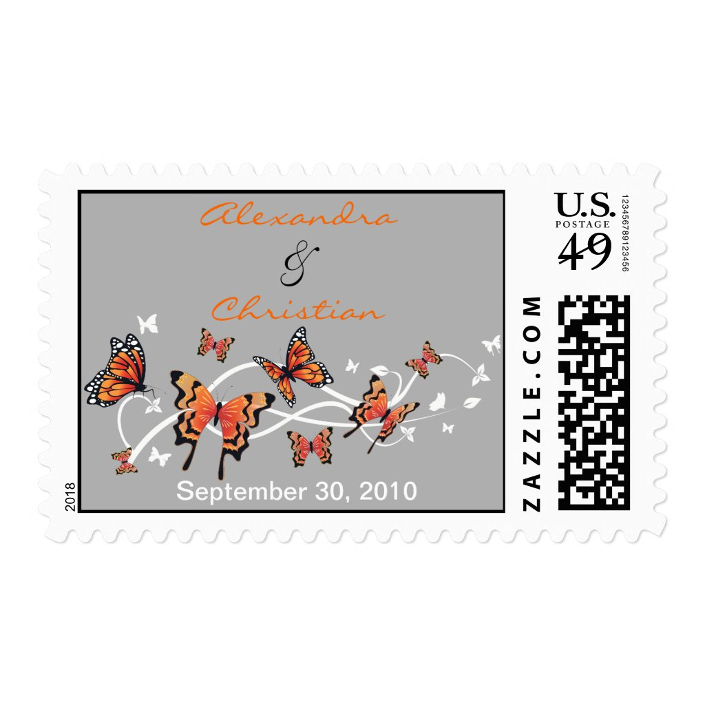 Butterfly Wedding Invitation Announcement Postage Stamps