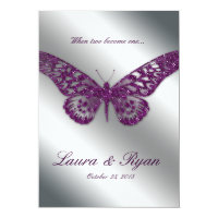 Butterfly Wedding Invite Sparkle Purple Silver (<em>$2.96</em>)