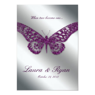 Butterfly Wedding Invite Sparkle Purple Silver