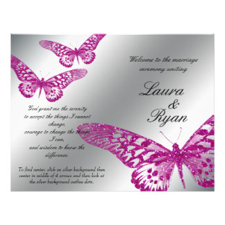 Butterfly Wedding Program Silver Pink Glitter
