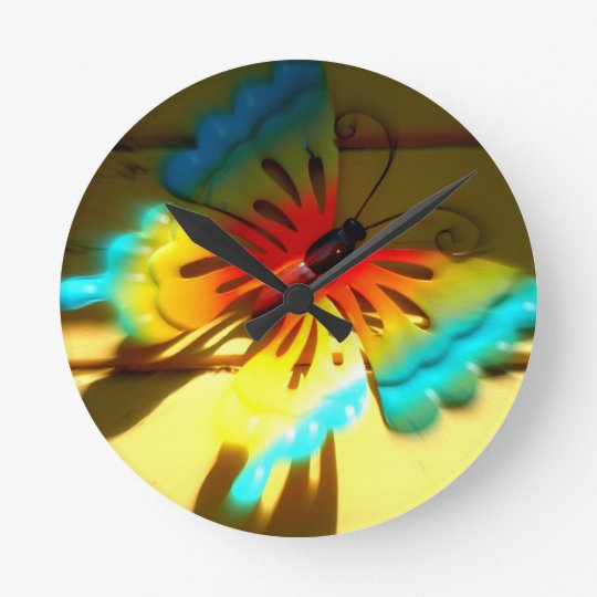 Butterfly Whizzing by Art Round Clock