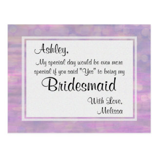 Butterfly - Will You Be My Bridesmaid? Postcard