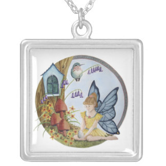 Butterfly Winged Child Fairy Square Pendant Necklace