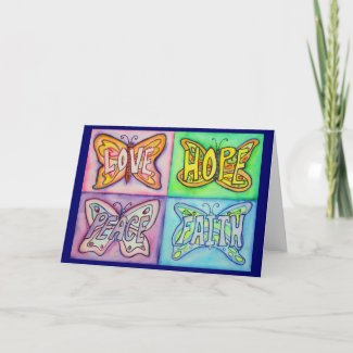 Butterfly Wings Four Words Greeting or Note Cards