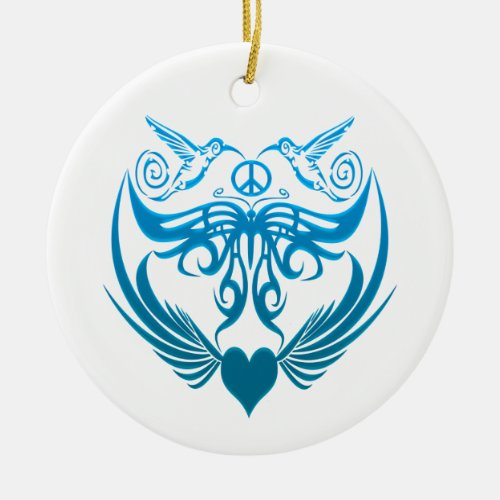 Butterfly wings hummingbirds Peace, blue Ceramic Ornament
