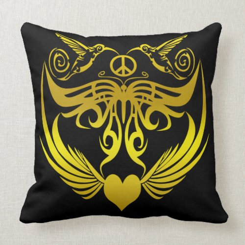 Butterfly wings hummingbirds Peace Gold Throw Pillow
