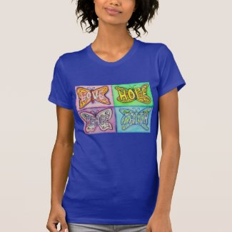 Butterfly Wings Inspirational Word Art Tee Shirts