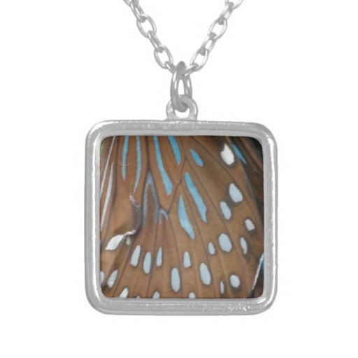 Butterfly Wings Square Pendant Necklace