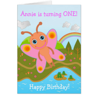 Butterfly wishing Happy Birthday Greeting Card
