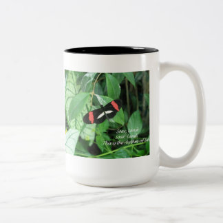 Butterfly with a message on a mug! Two-Tone coffee mug