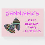 [ Thumbnail: Butterfly With Colorful Striped Wings + Birthday Guest Book ]