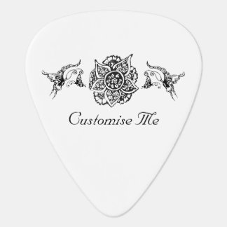 Butterfly with Flower (Henna) (Black) Guitar Pick