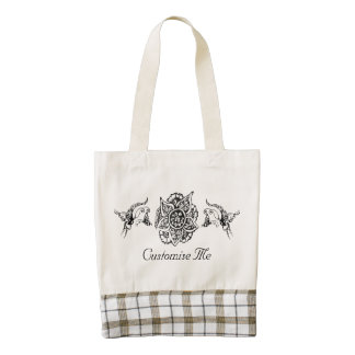 Butterfly with Flower (Henna) (Black) Zazzle HEART Tote Bag