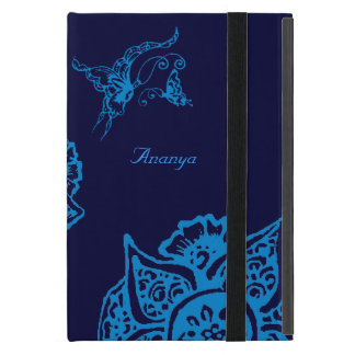 Butterfly with Flower(Henna)(Blue) Cases For iPad Mini