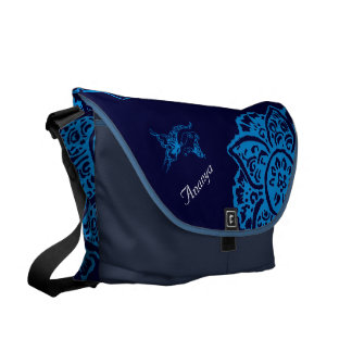 Butterfly with Flower(Henna)(Blue) Courier Bag