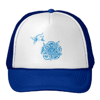 Butterfly with Flower(Henna)(Blue) Mesh Hats