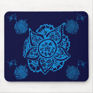 Butterfly with Flower(Henna)(Blue) Mouse Pad