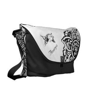 Butterfly with Flower(Henna) Courier Bag