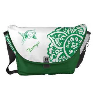 Butterfly with Flower(Henna)(Green) Courier Bag