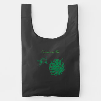 Butterfly with Flower (Henna) (Green) Reusable Bag