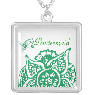 Butterfly with Flower(Henna)(Green) Silver Plated Necklace