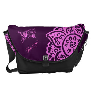 Butterfly with Flower(Henna)(Pink) Courier Bag