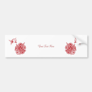 Butterfly with Flower(Henna)(Red) Bumper Sticker