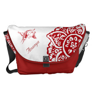 Butterfly with Flower(Henna)(Red) Courier Bag