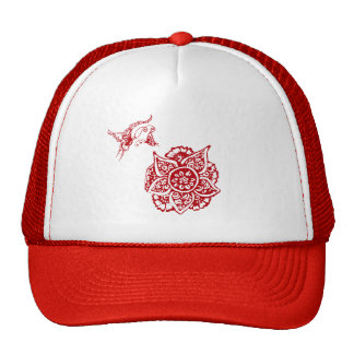 Butterfly with Flower(Henna)(Red) Hat