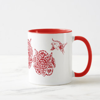 Butterfly with Flower(Henna)(Red) Mug