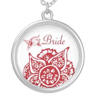 Butterfly with Flower(Henna)(Red) Custom Necklace