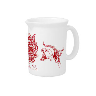 Butterfly with Flower(Henna)(Red) Pitcher