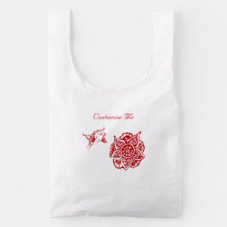 Butterfly with Flower (Henna) (Red) Reusable Bag
