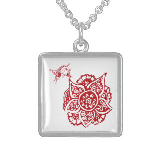 Butterfly with Flower(Henna)(Red) Sterling Silver Necklace